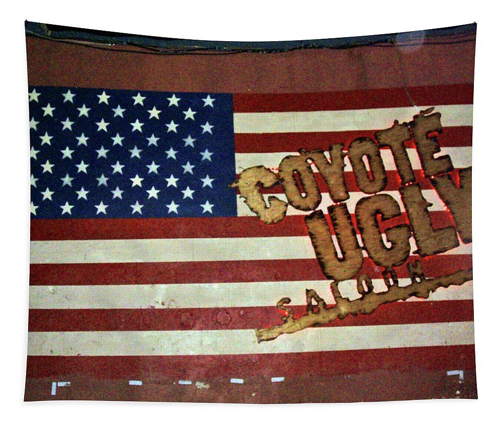 American Flag Tapestry featuring the photograph American Coyote Ugly by Debbie Colombo