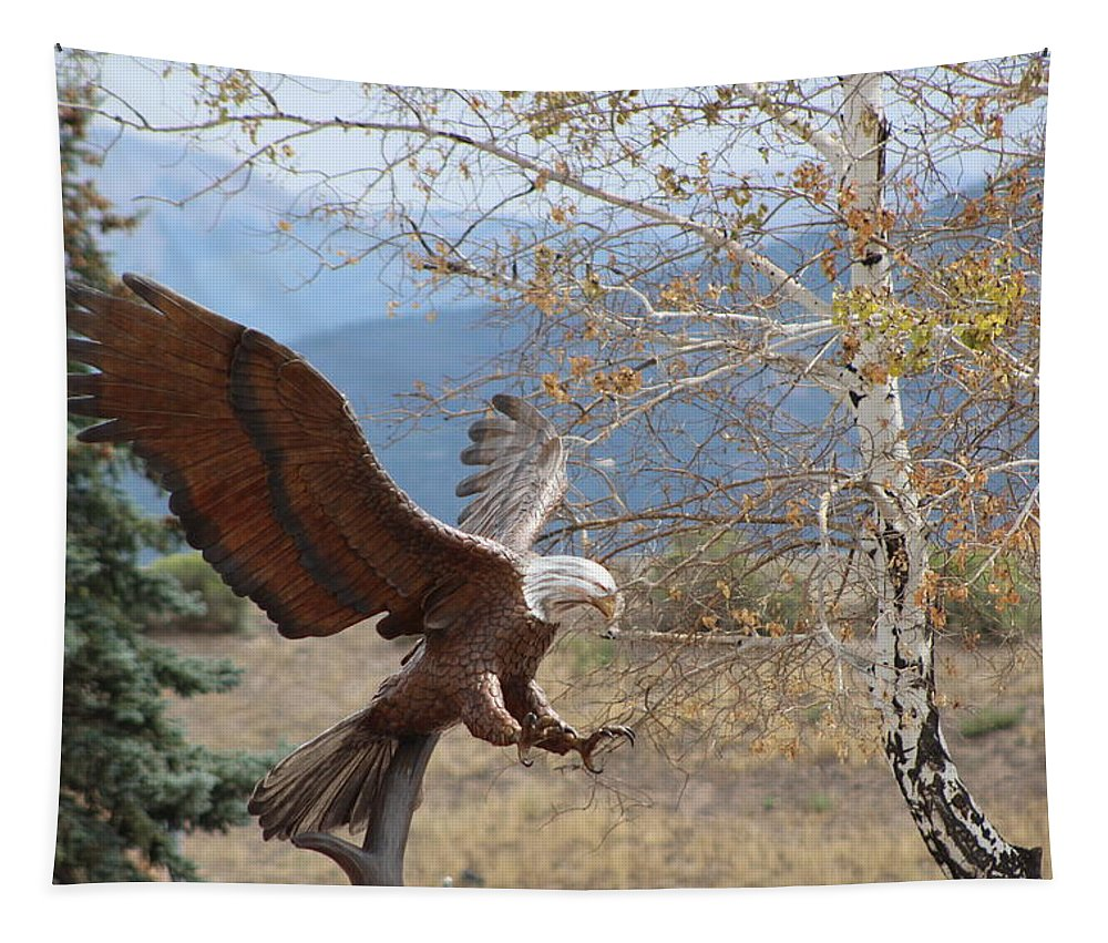 Eagle Tapestry featuring the photograph American Eagle in Autumn by Colleen Cornelius