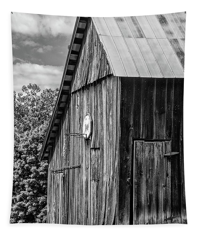 Landscape Tapestry featuring the photograph An American Barn Bw by Steve Harrington