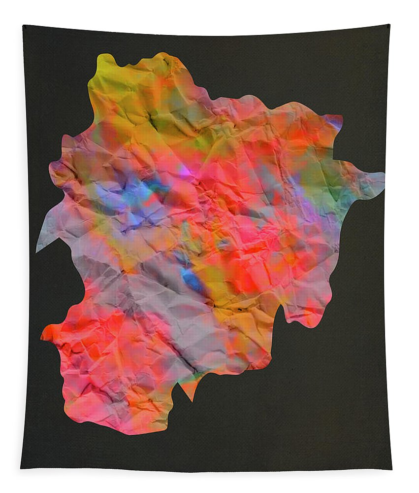 Andorra Tapestry featuring the mixed media Andorra Tie Dye Country Map by Design Turnpike