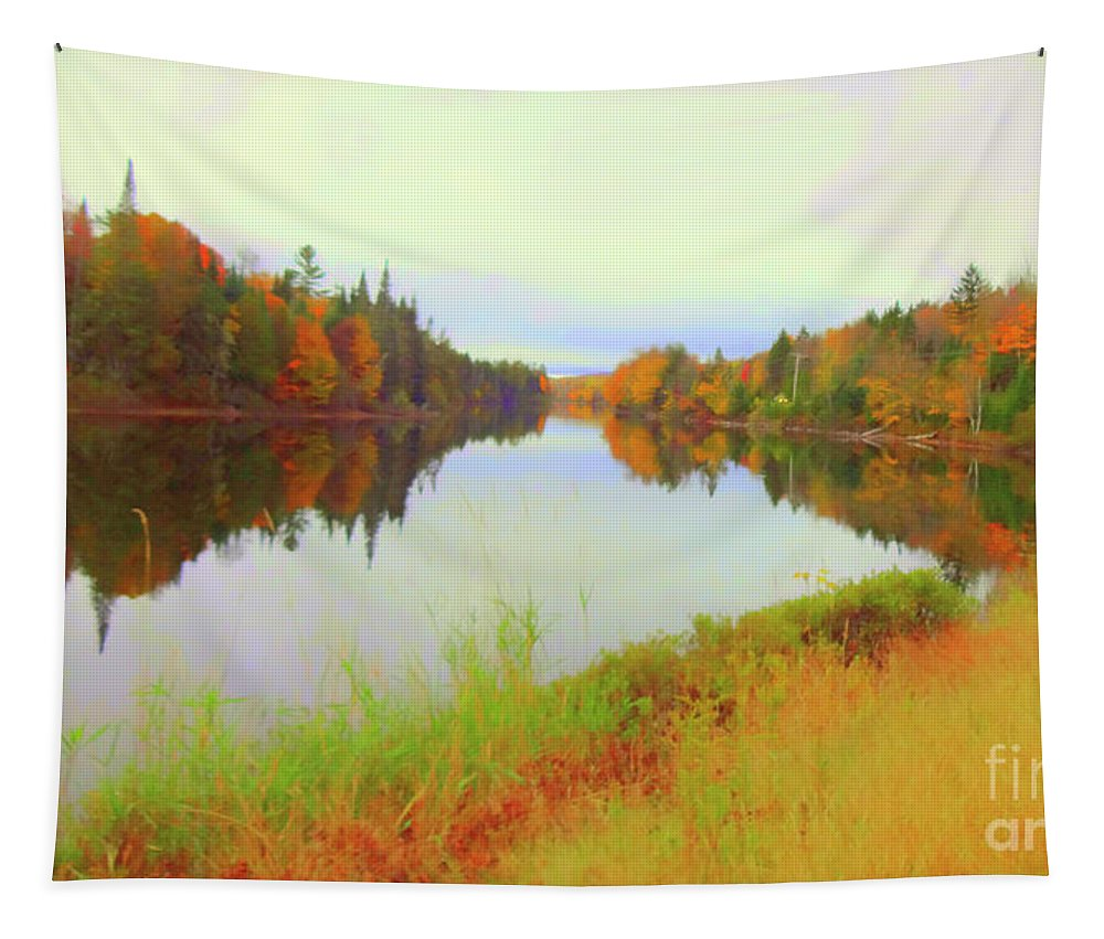 Nh Tapestry featuring the mixed media Androscoggin River, 13 Mile Woods by Susan Lafleur