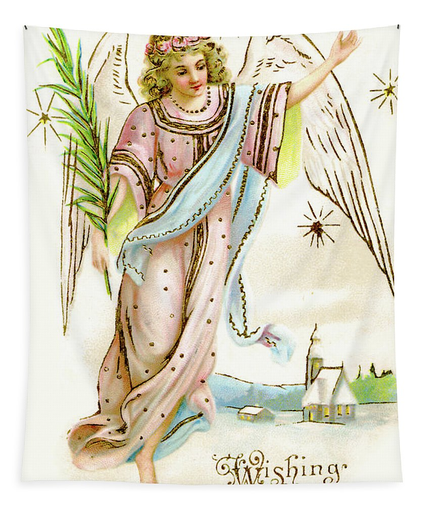 Angel Tapestry featuring the painting Angel Carrying A Palm Branch by English School