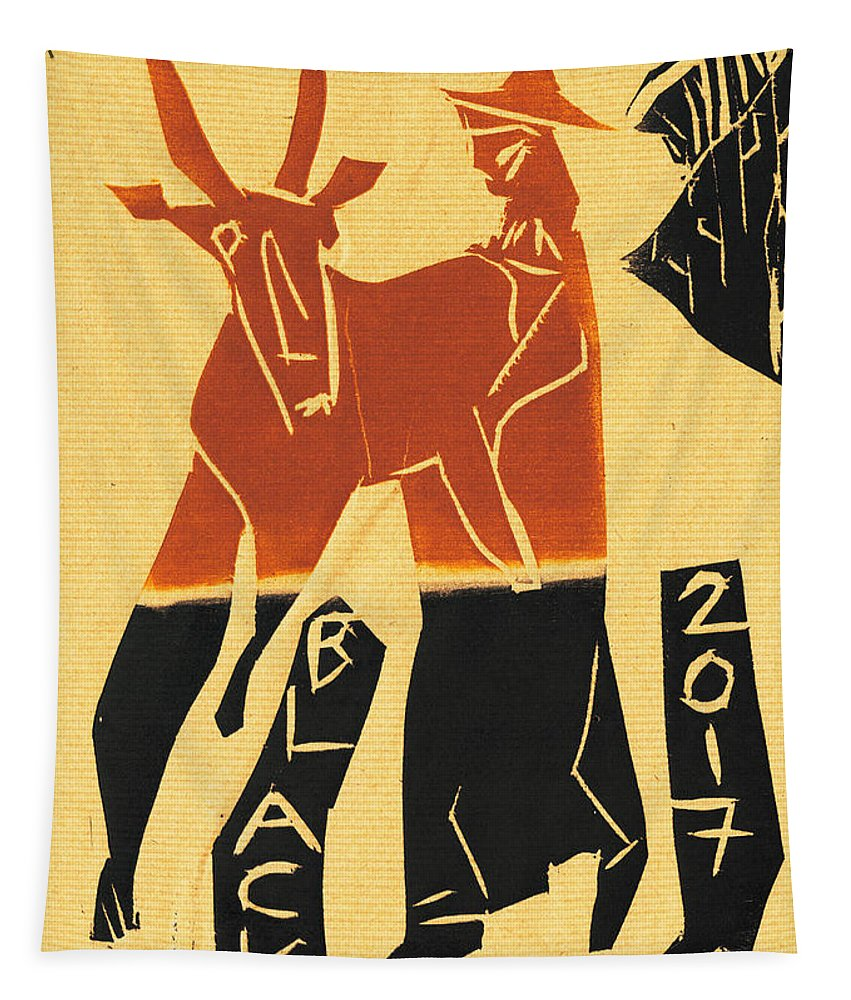 Antelope Tapestry featuring the relief Antelope Black Ivory Woodcut9 by Artist Dot