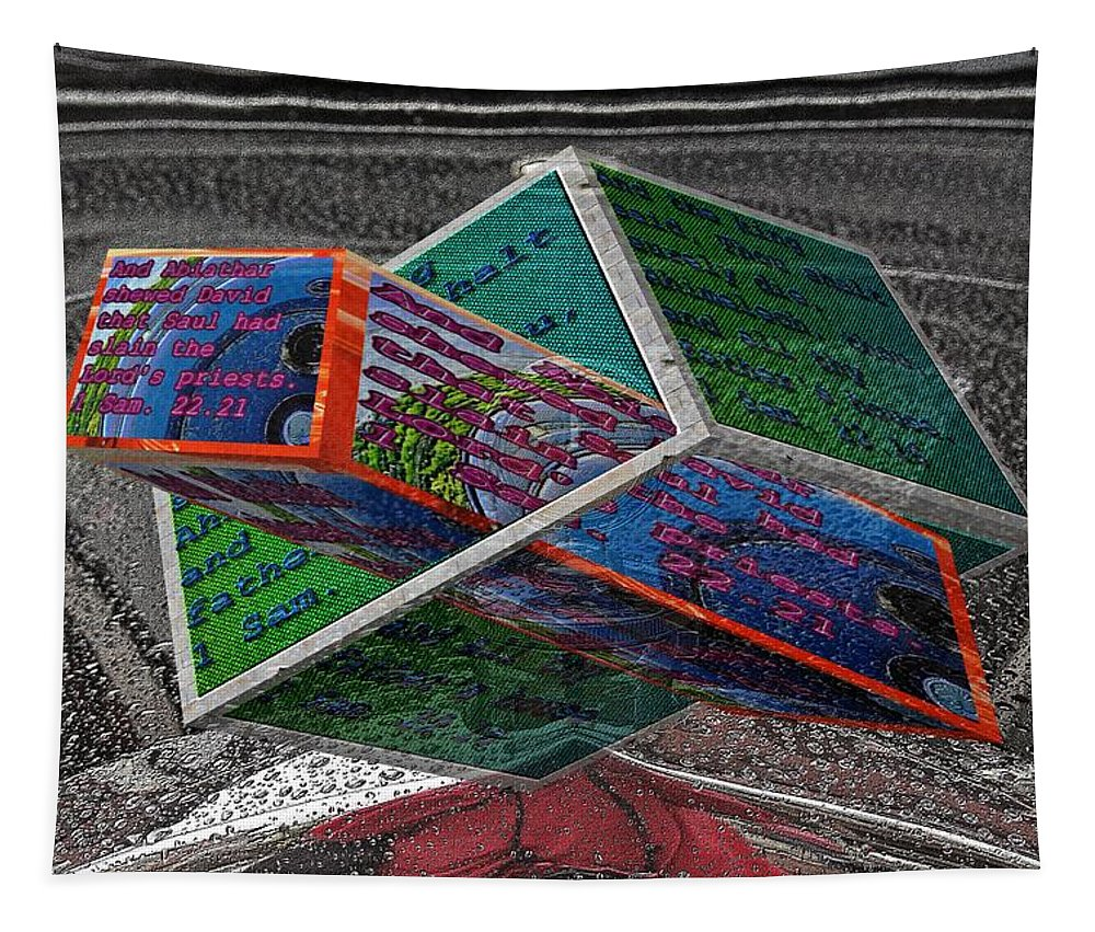 Cars Tapestry featuring the digital art Antique Car Hood With 3d Text Boxes by Karl Rose