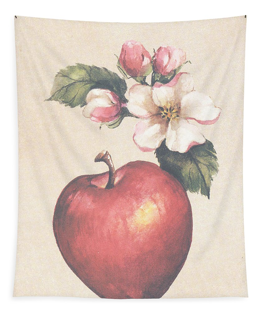 Apple Tapestry featuring the painting Apple And Blossoms by Carolyn Shores Wright