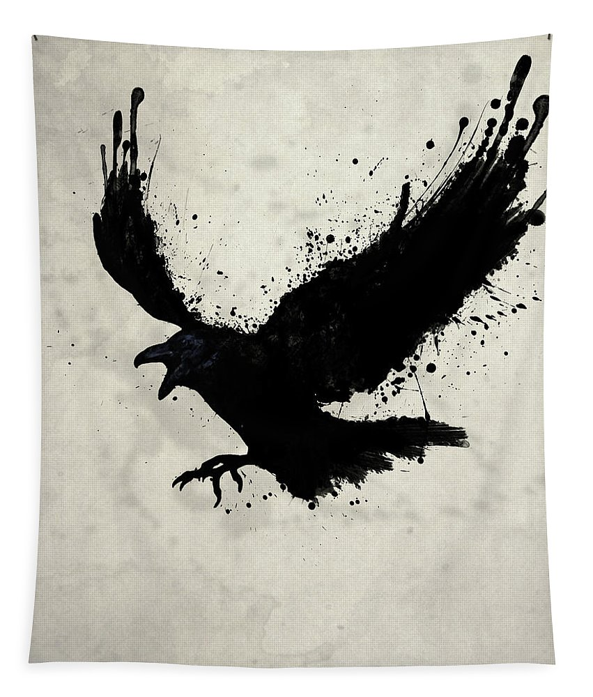 Raven Tapestry featuring the digital art Raven by Nicklas Gustafsson