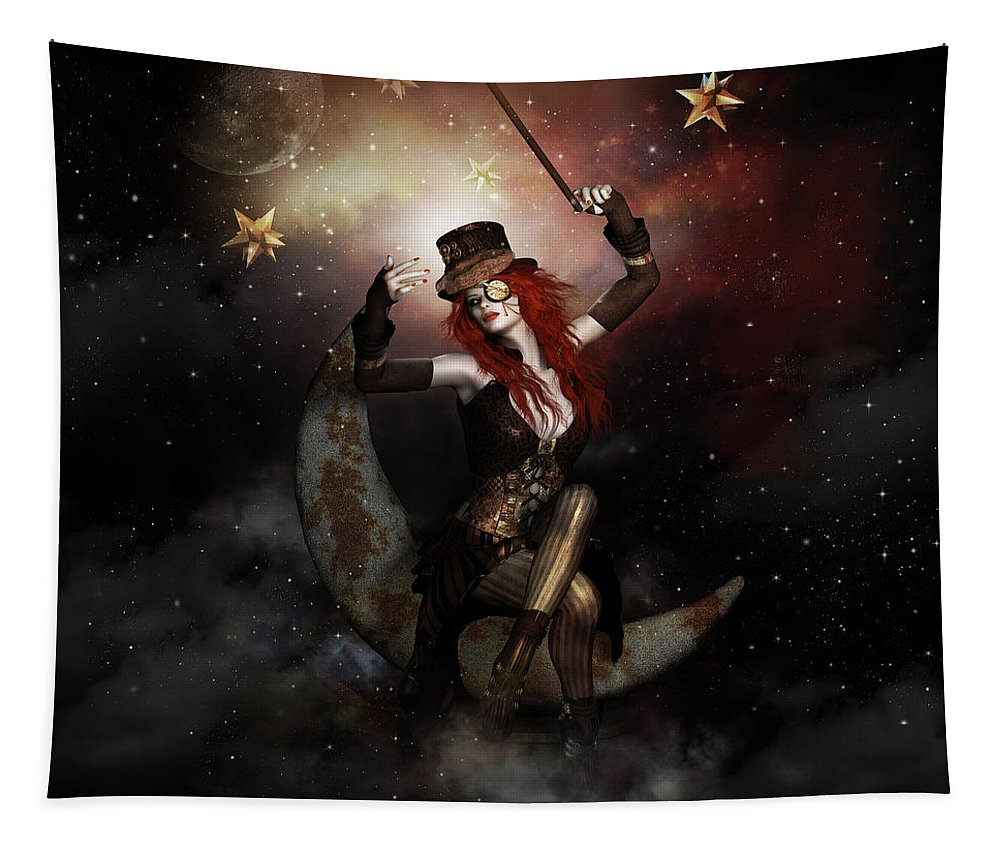 Rivets Tapestry featuring the digital art Maestro Steampunk by Shanina Conway