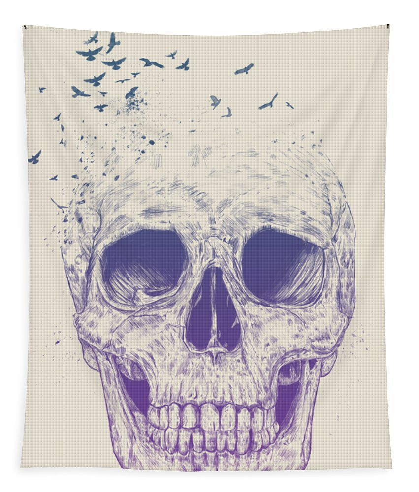 Skull Tapestry featuring the mixed media Let them fly by Balazs Solti