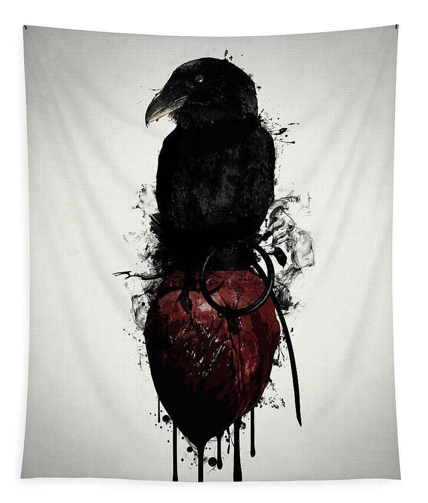 Raven Tapestry featuring the digital art Raven and Heart Grenade by Nicklas Gustafsson