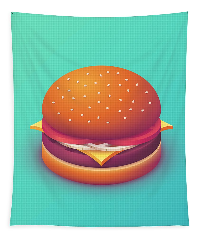 Burger Tapestry featuring the digital art Burger Isometric - Plain Mint by Ivan Krpan