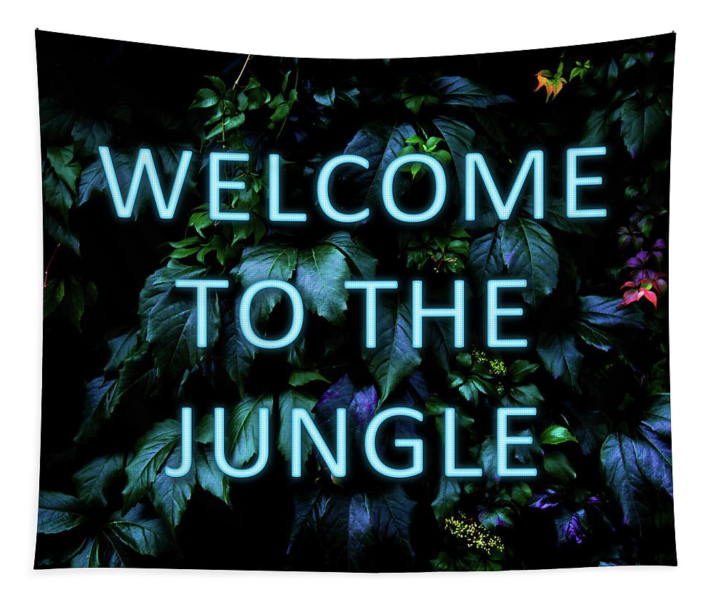 Neon Tapestry featuring the mixed media Welcome To The Jungle - Neon Typography by Nicklas Gustafsson