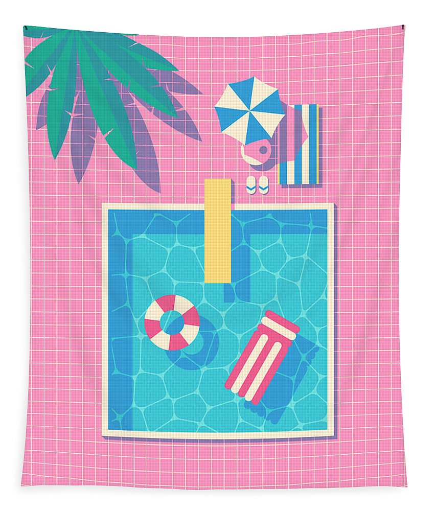 Swim Tapestry featuring the digital art Retro 80s Swimming Pool by Organic Synthesis