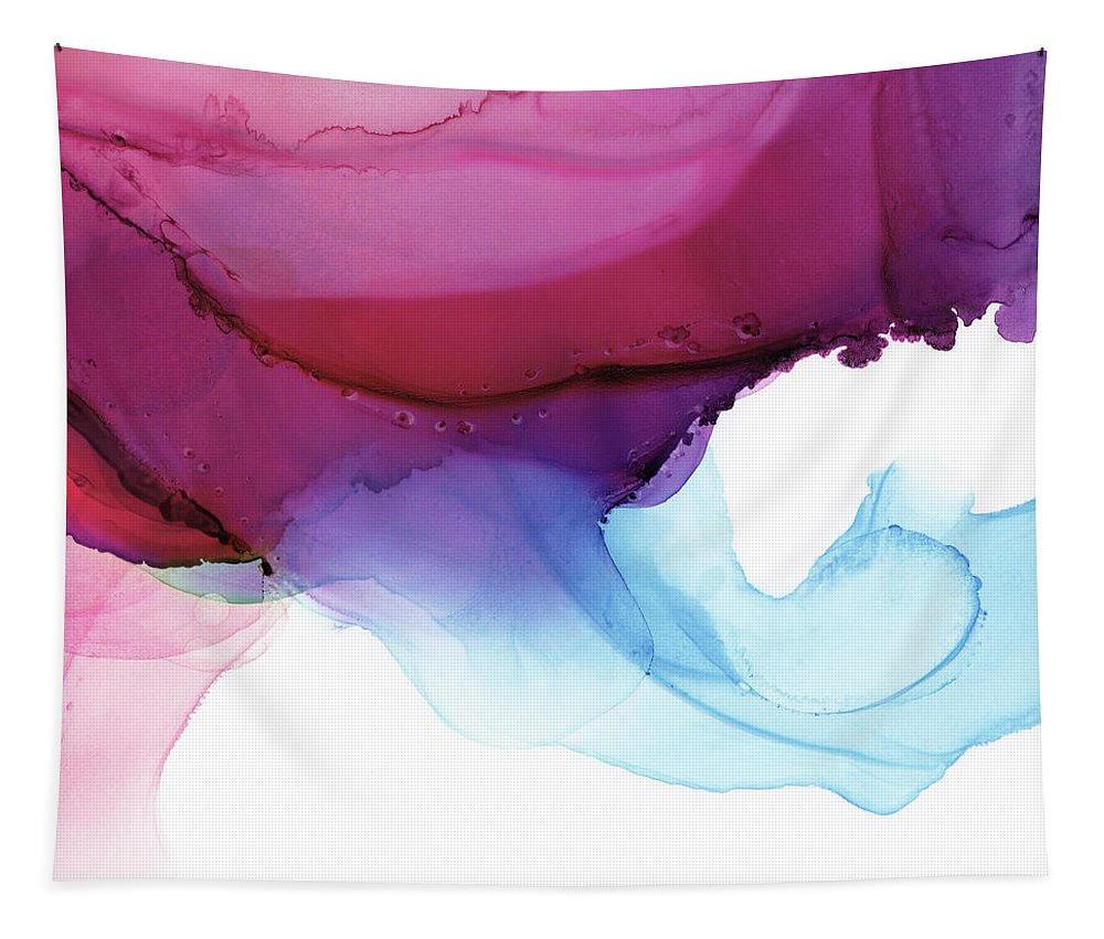 Abstract Tapestry featuring the painting Shades Of Purple by PrintsProject