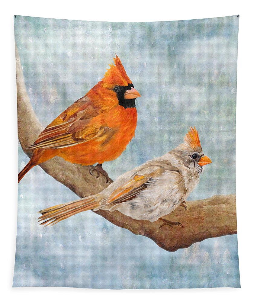 Cardinal Tapestry featuring the mixed media Together Above All by Angeles M Pomata