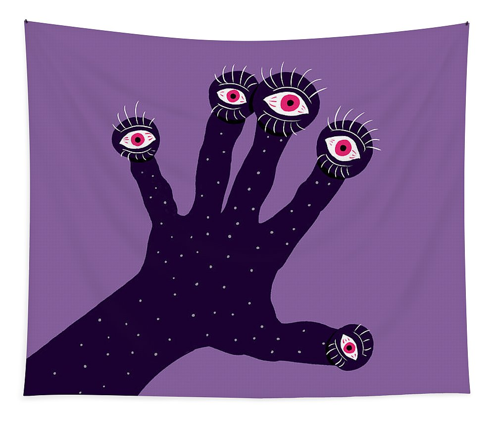Illustration Tapestry featuring the digital art Creepy Hand With Watching Eyes Weird by Boriana Giormova