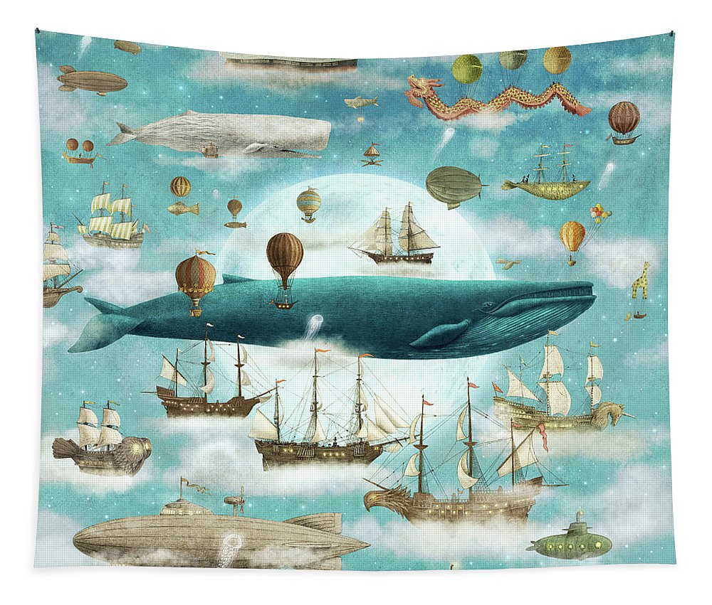 Ocean Tapestry featuring the drawing Ocean Meets Sky by Eric Fan
