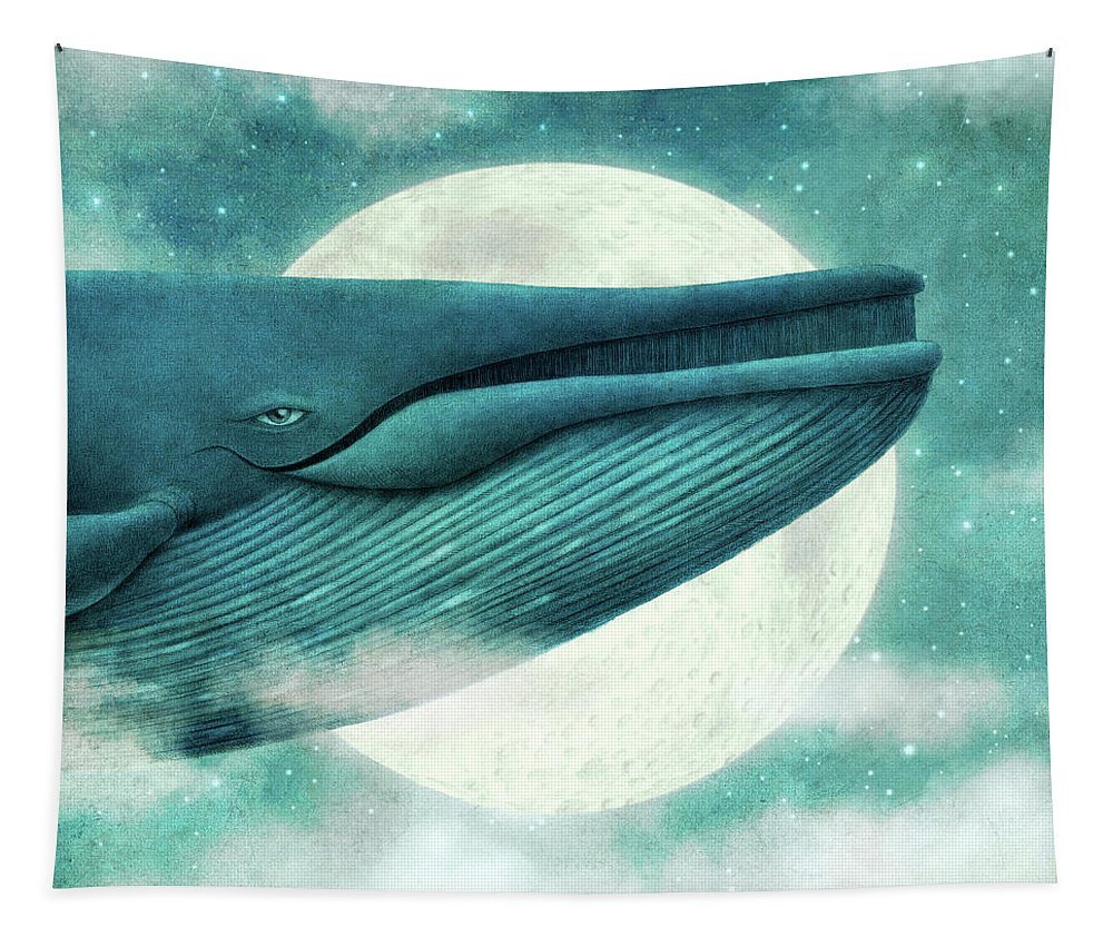 Whale Tapestry featuring the drawing The Great Whale by Eric Fan