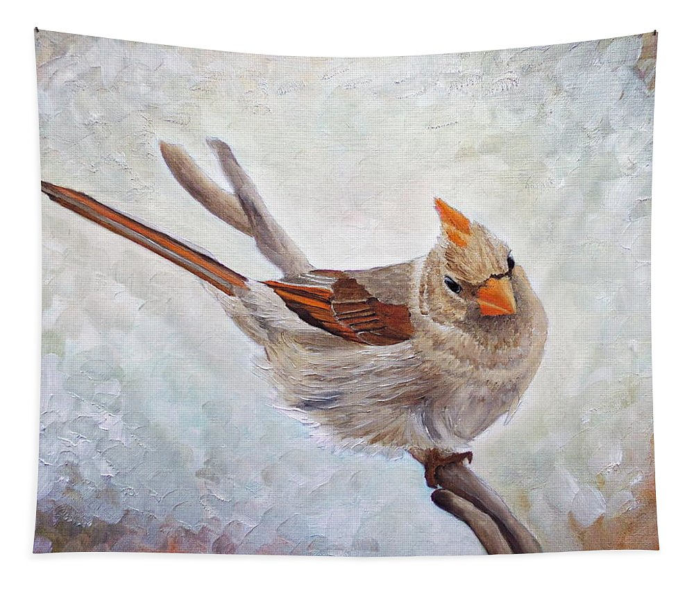 Cardinal Tapestry featuring the painting Red Bill Beauty by Angeles M Pomata