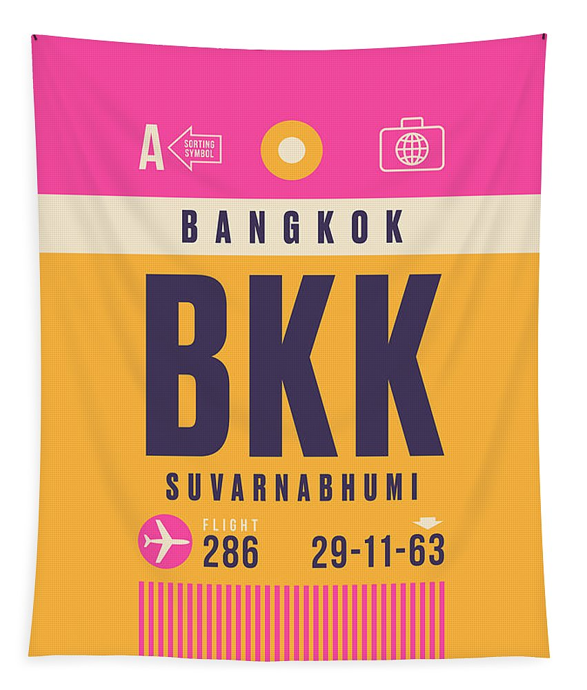 Airline Tapestry featuring the digital art Retro Airline Luggage Tag - Bkk Bangkok Thailand by Ivan Krpan