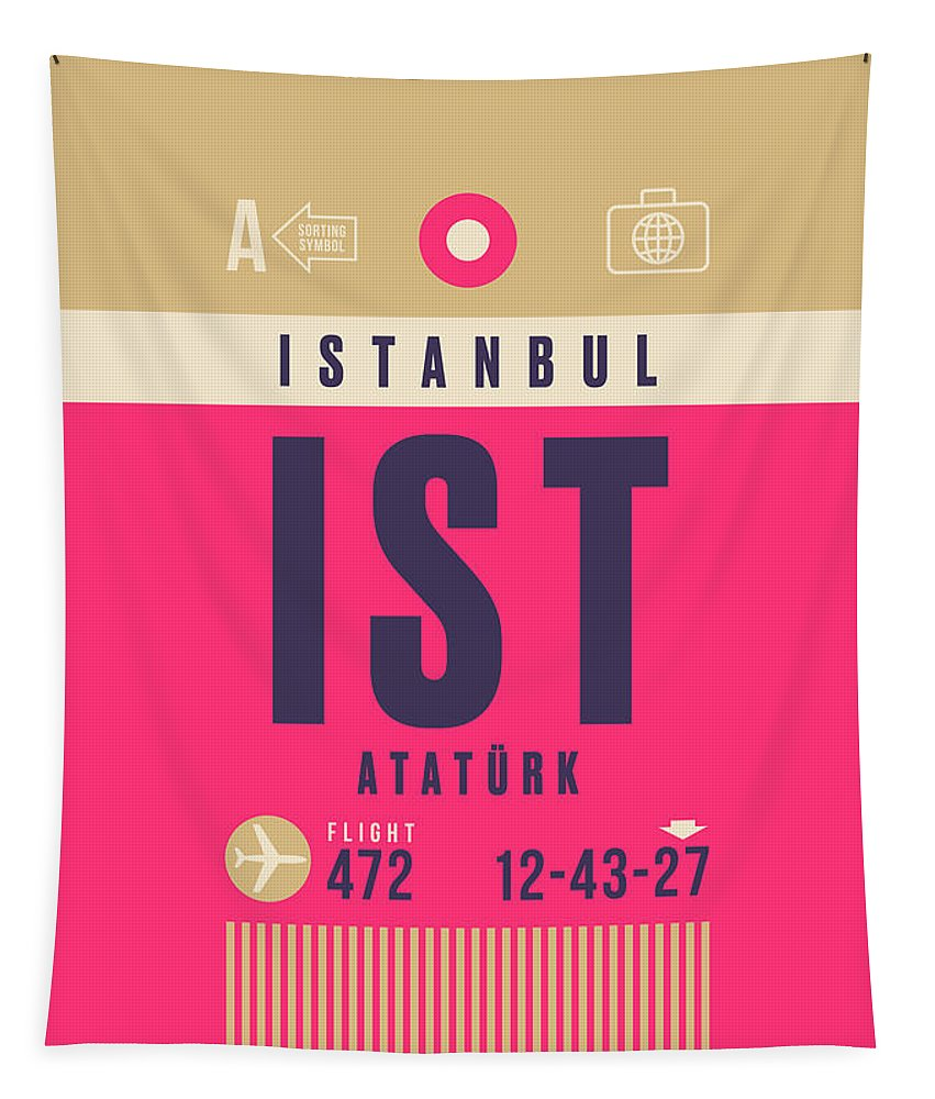 Airline Tapestry featuring the digital art Retro Airline Luggage Tag - Ist Istanbul Airport by Ivan Krpan