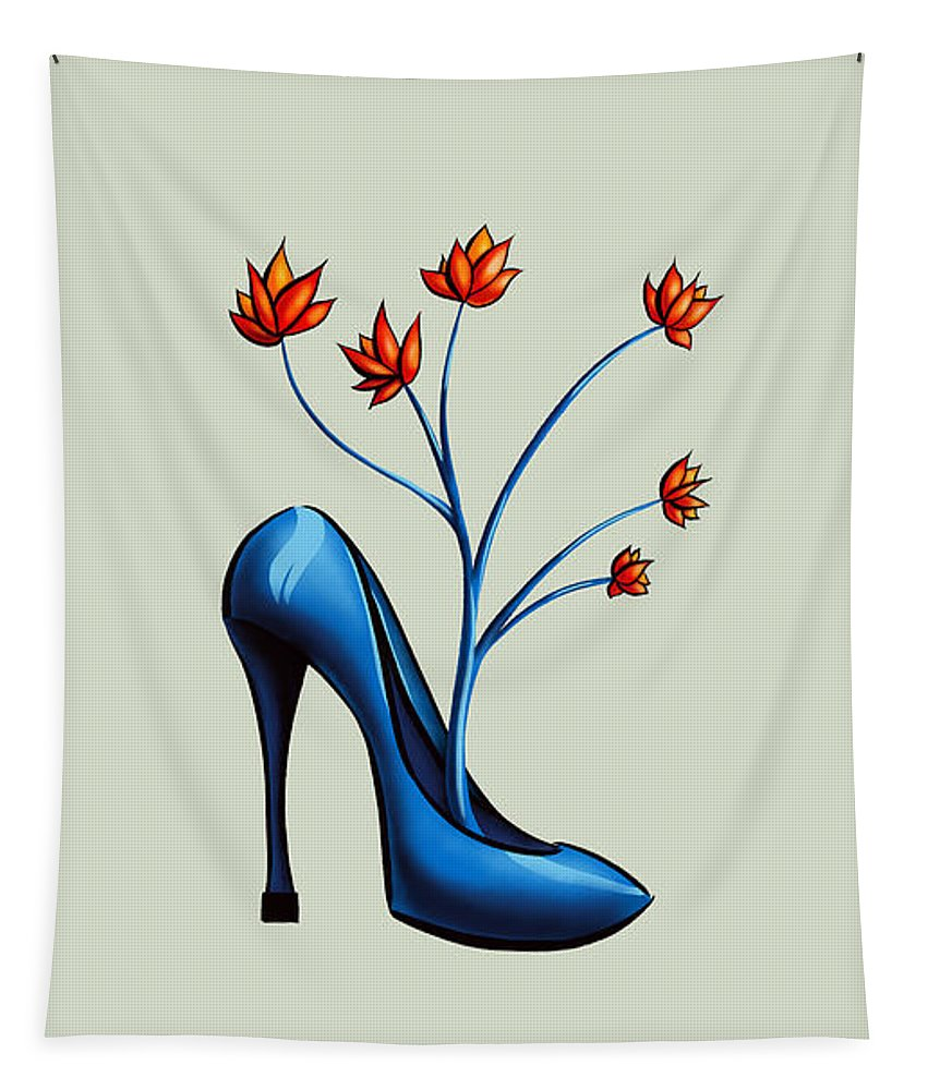 Shoe Tapestry featuring the digital art High Heel Shoe And Flower Bouquet Art by Boriana Giormova