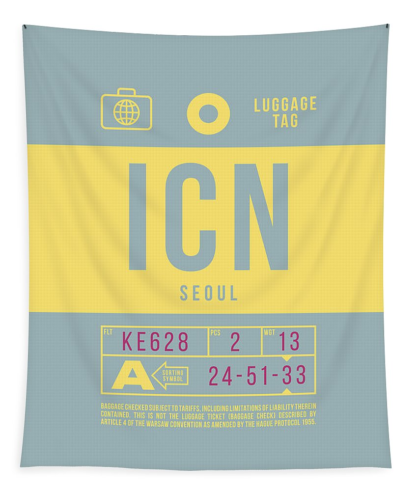 Airline Tapestry featuring the digital art Retro Airline Luggage Tag 2.0 - Icn Seoul Korea by Ivan Krpan