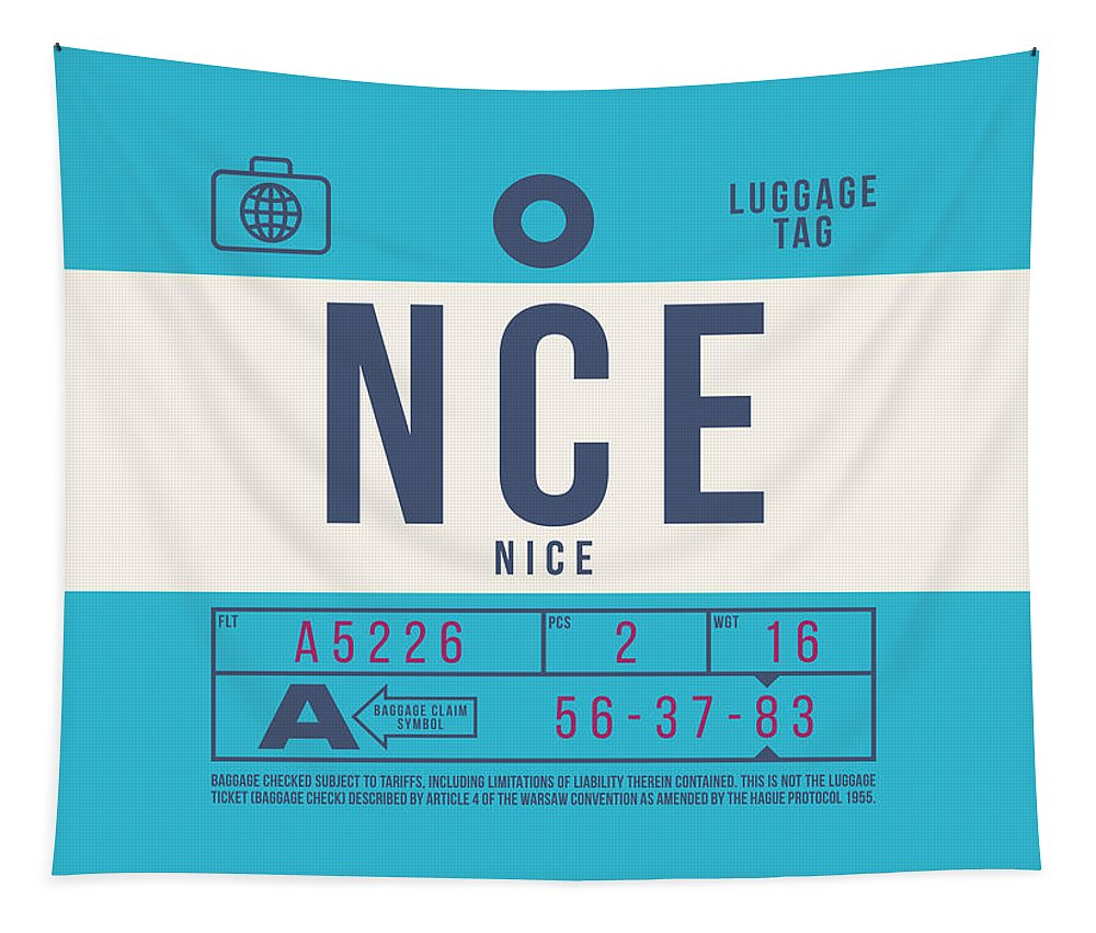 Airline Tapestry featuring the digital art Retro Airline Luggage Tag 2.0 - Nce Nice Cote D'azur Airport France by Organic Synthesis