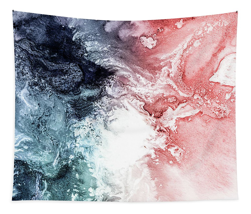 Abstract Tapestry featuring the painting Abstract Aerial Coastal View by PrintsProject