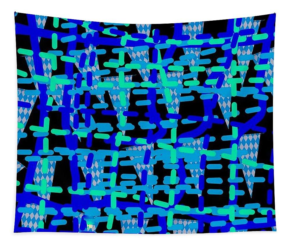 Blue Tapestry featuring the digital art Blue Vibes 28 by Moylom Art Studio
