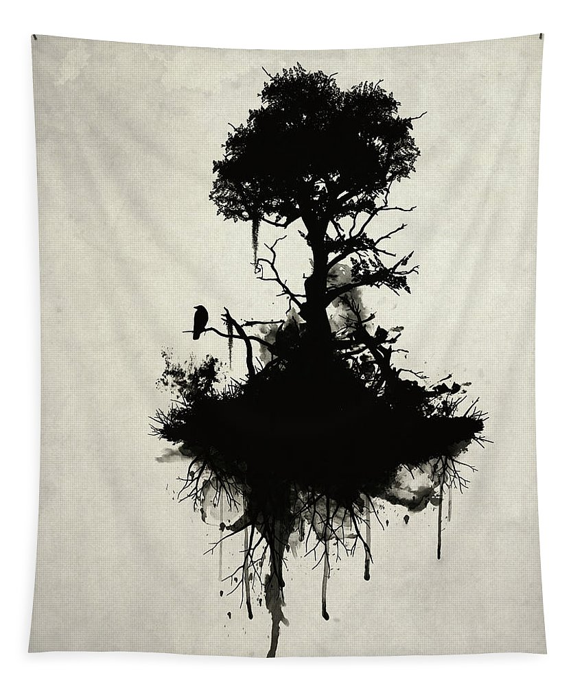 Nature Tapestry featuring the painting Last Tree Standing by Nicklas Gustafsson