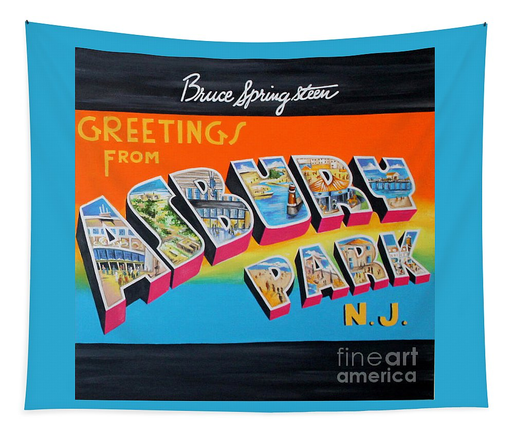 Asbury Park Tapestry featuring the painting Asbury Park Bruce Springsteen by Amy Belonio