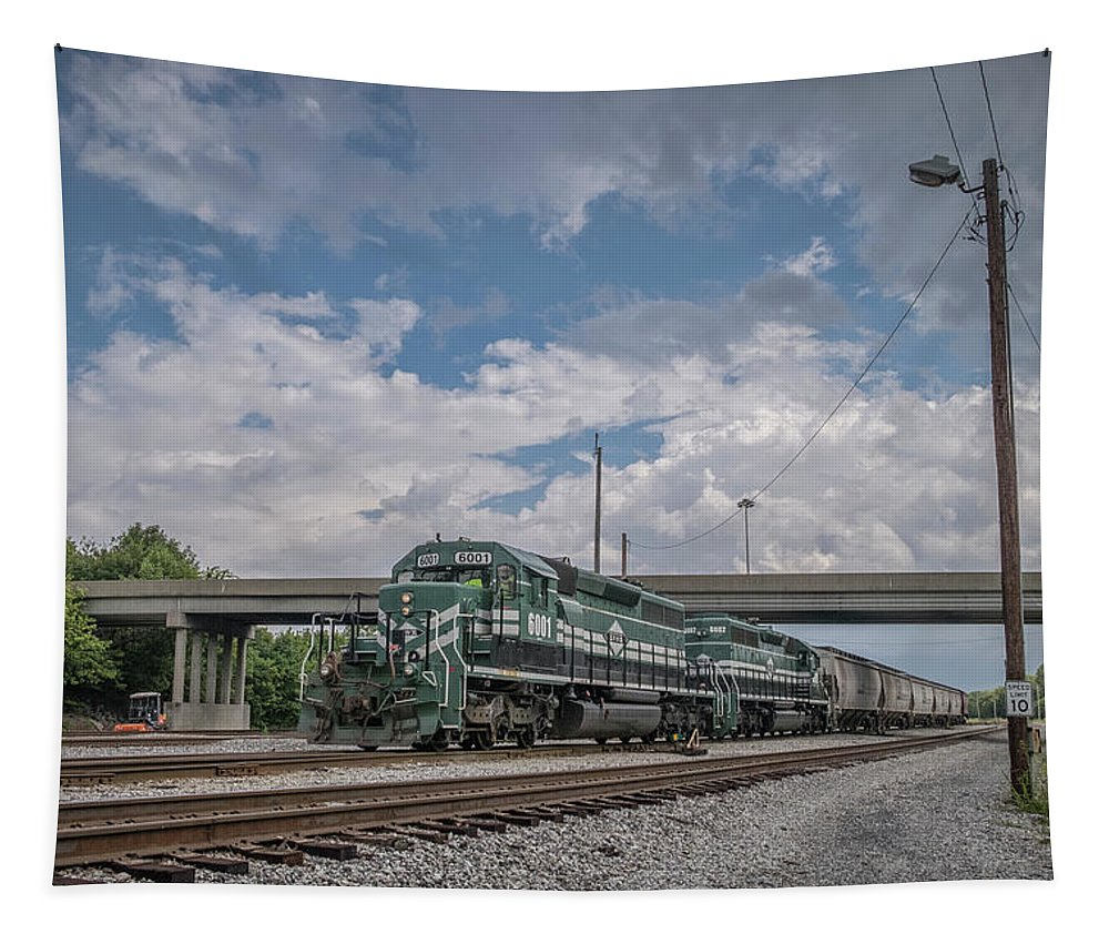 Railroad Tapestry featuring the photograph August 29 2018 - Evansville Western Railway by Jim Pearson