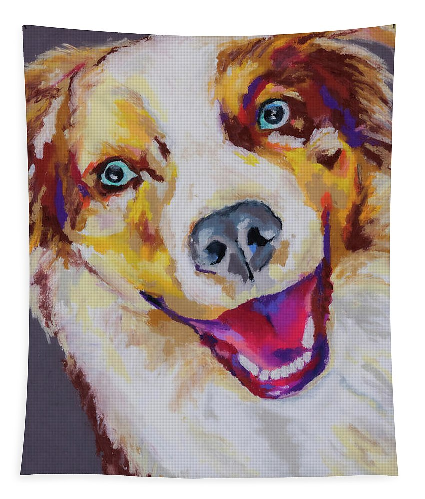 Australian Shepard Tapestry featuring the painting Aussie by Stephen Anderson