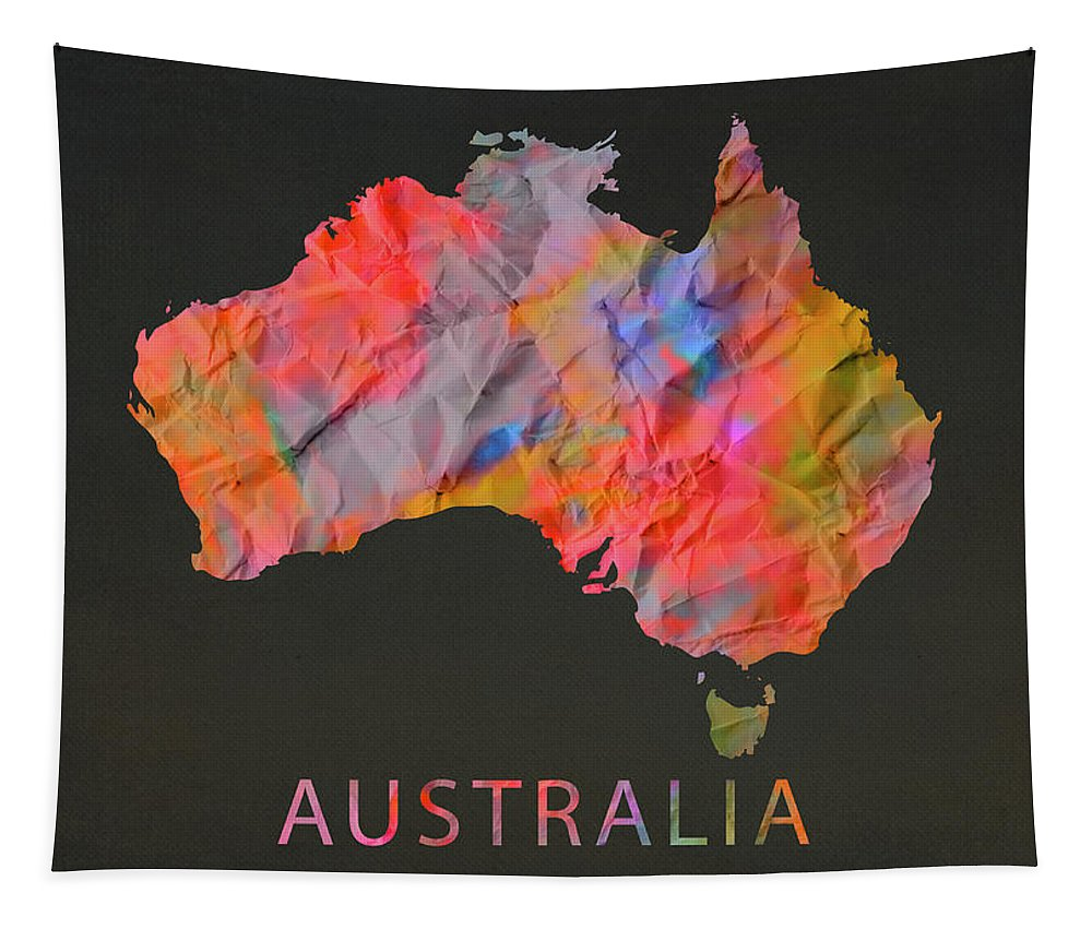 Australia Tapestry featuring the mixed media Australia Tie Dye Country Map by Design Turnpike