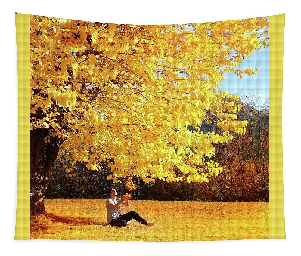 Yellow Tapestry featuring the digital art Autumn by Alex Mur