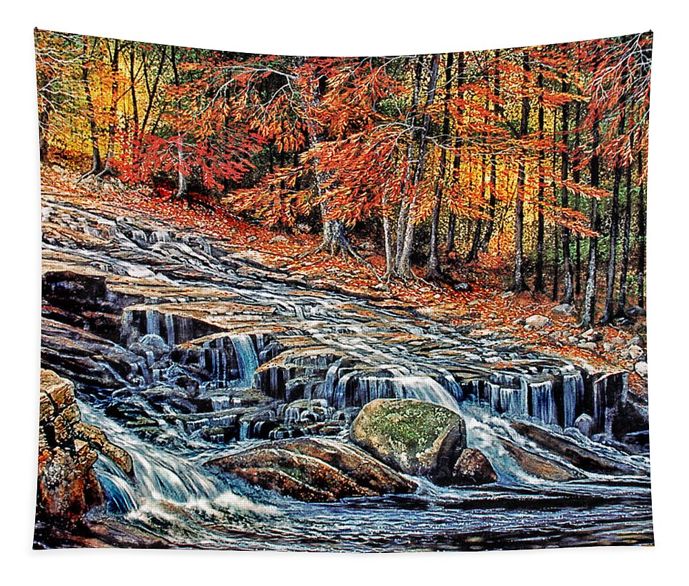 Autumn Cascade Tapestry featuring the painting Autumn Cascade by Frank Wilson