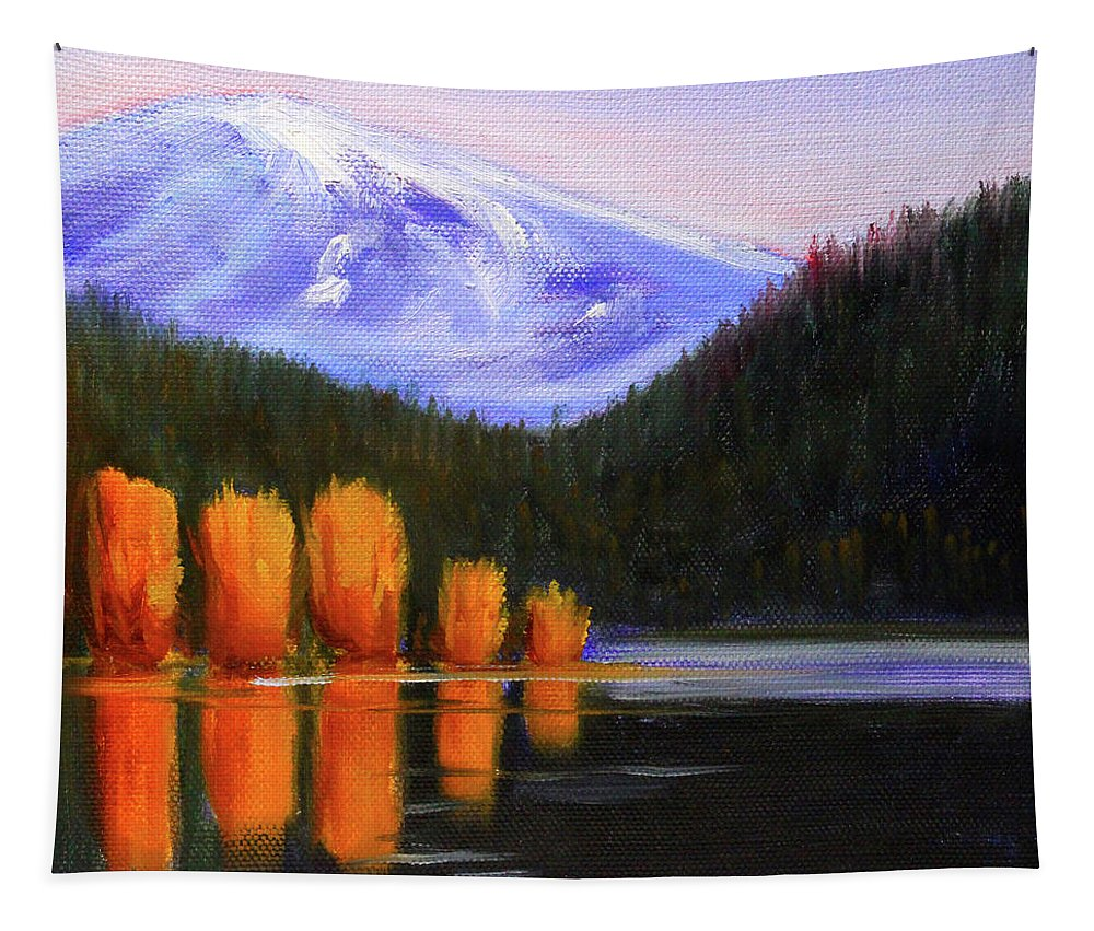Autumn Lake Tapestry featuring the painting Autumn Lake Reflection by Nancy Merkle