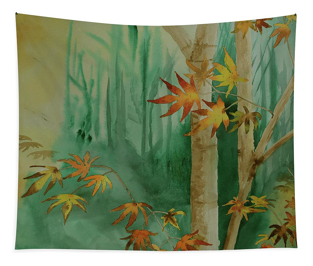 Autumn Tapestry featuring the painting Autumn Leaves - #1 by Iris Dayoub