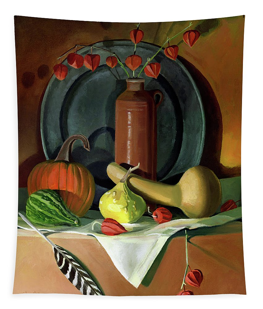 Still Life Tapestry featuring the painting Autumn Still Life by Nancy Griswold