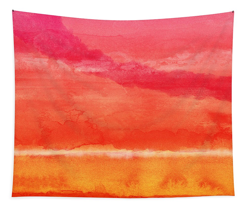 Abstract Tapestry featuring the painting Awakened 5 - Art by Linda Woods by Linda Woods