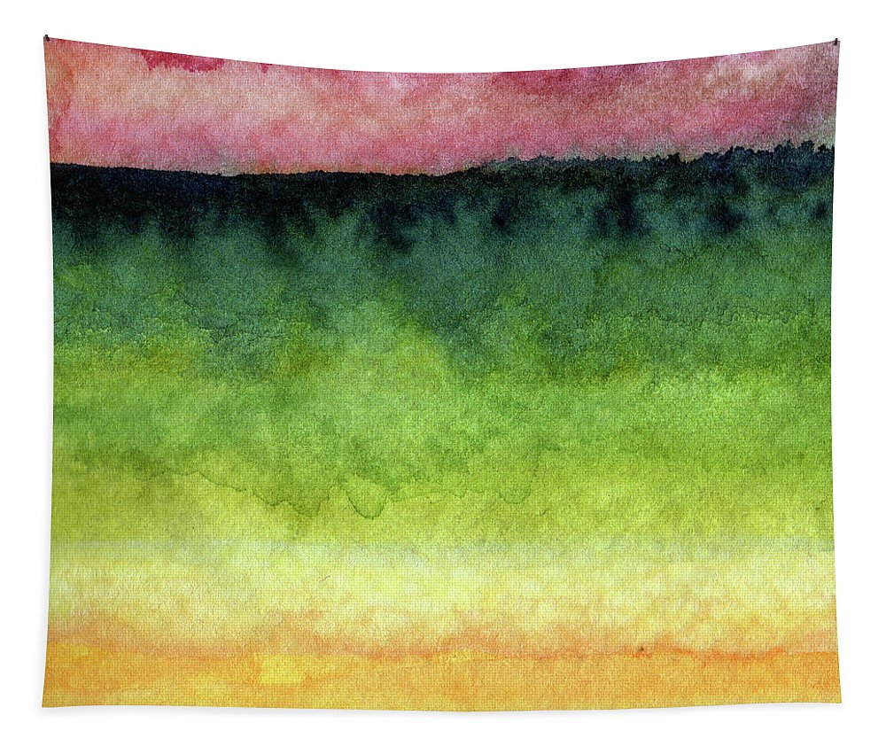 Abstract Landscape Tapestry featuring the painting Awakened Too by Linda Woods