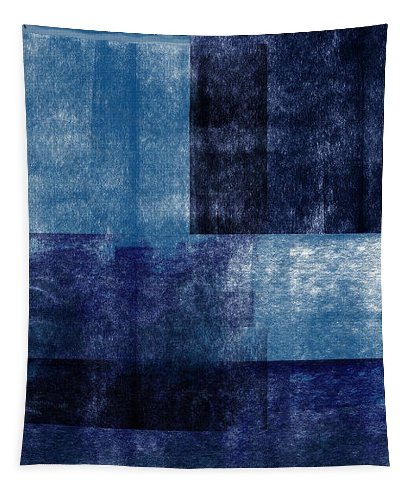 Abstract Tapestry featuring the mixed media Azul Blocks 1- Art by Linda Woods by Linda Woods