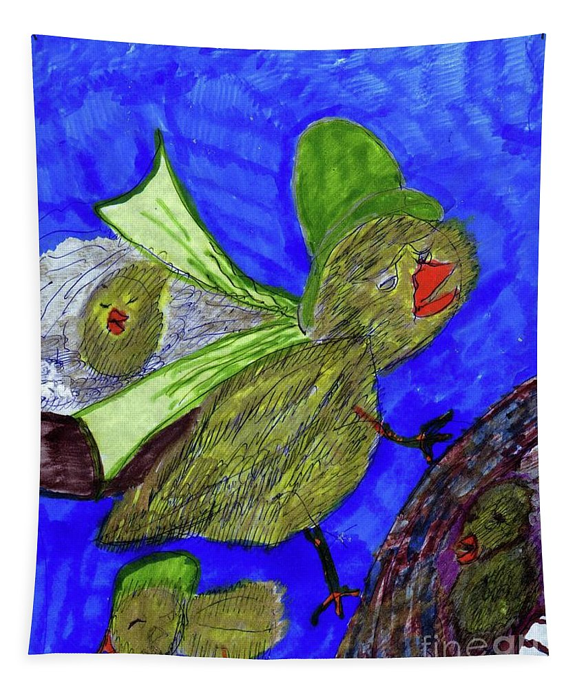 Mother Checking On Her Baby Chicks Tapestry featuring the mixed media Baby Chicks by Elinor Helen Rakowski