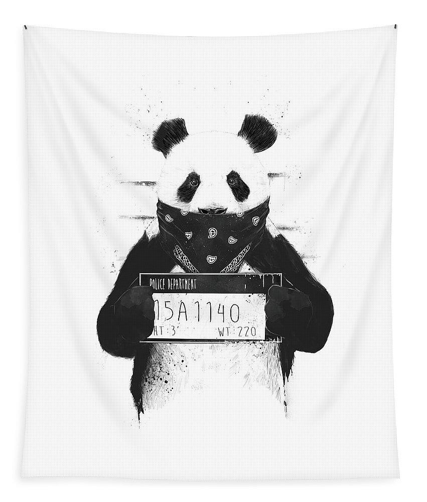 Panda Tapestry featuring the drawing Bad panda by Balazs Solti