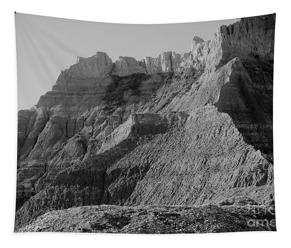 Landscape Tapestry featuring the photograph Badlands South Dakota Black And White by Jeff Swan