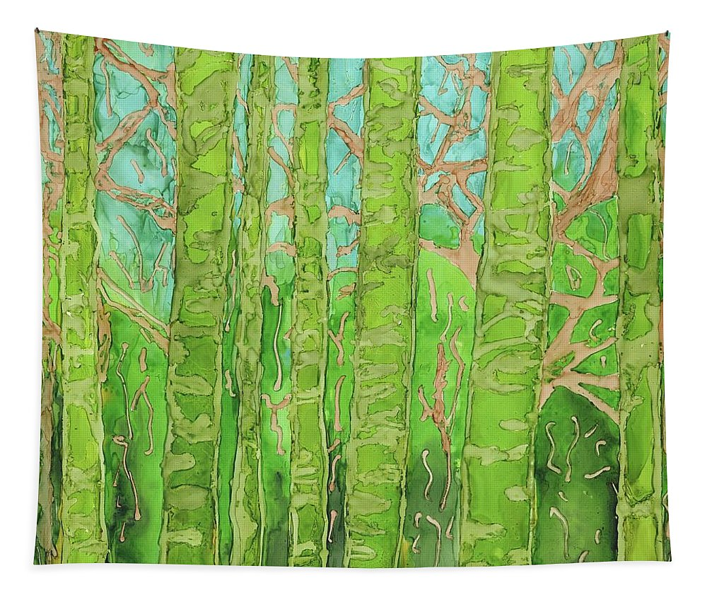 Bamboo Tapestry featuring the painting Bamboo Forest by Kristin Hager