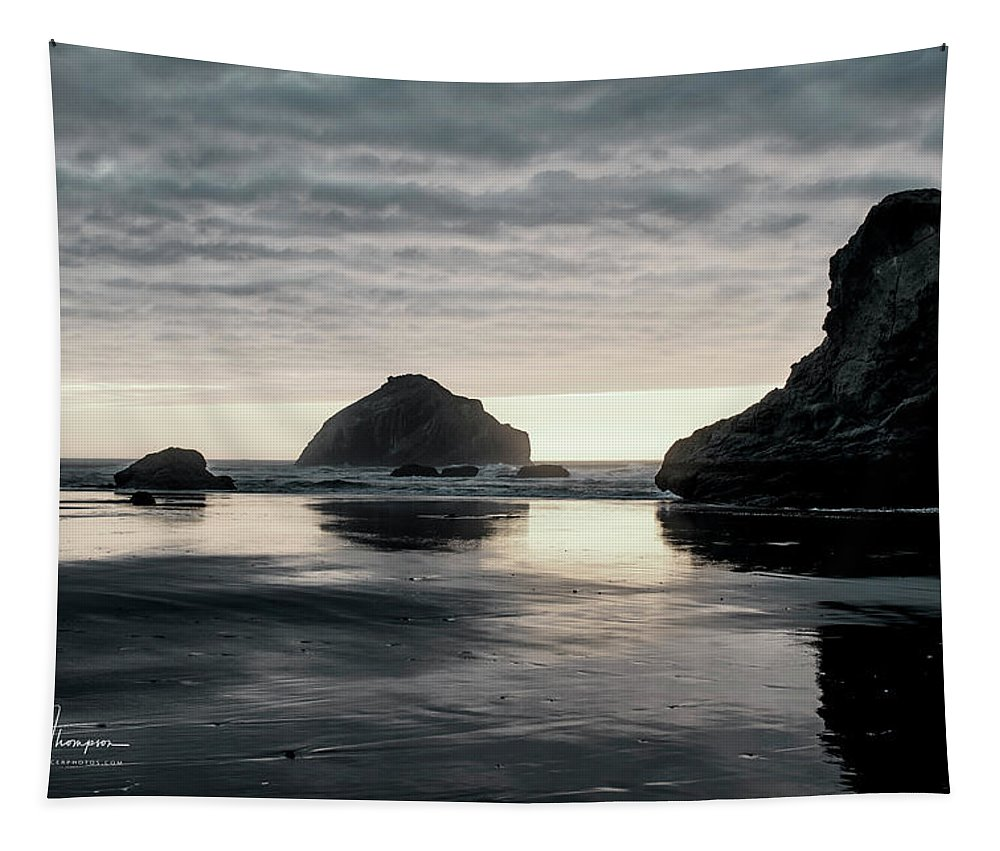 Bandon Beach Tapestry featuring the photograph Bandon Beach Sunset 1 by Jim Thompson