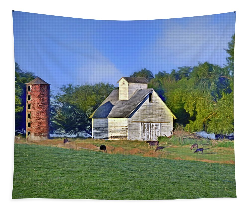 Barns Tapestry featuring the photograph Barn - Silo - Cows by Nikolyn McDonald