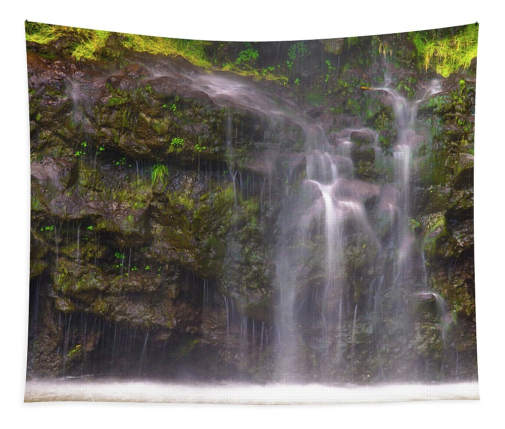 Maui Tapestry featuring the photograph Base Of Waimoku Falls by Christopher Johnson
