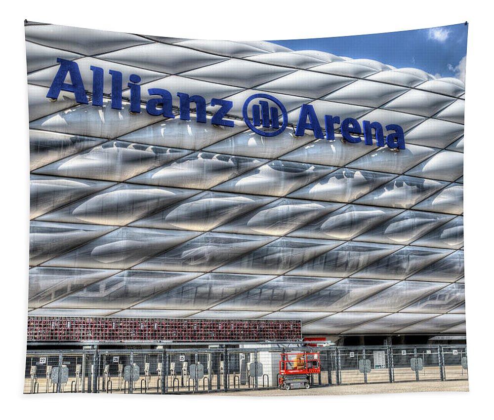 Allianz Arena Tapestry featuring the photograph Allianz Arena Bayern Munich by David Pyatt